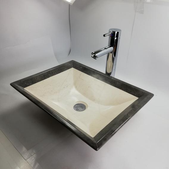 Ovalin Lavabo Minimalista Moderno Marmol Rectangular 45/35