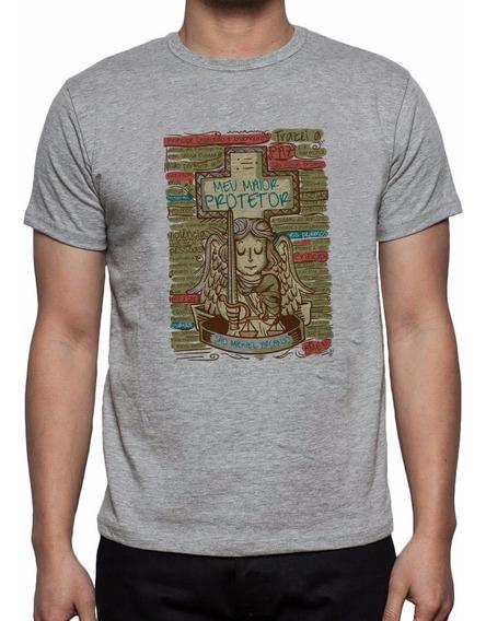 Camiseta Cinza Mescla São Miguel Arcanjo Oração