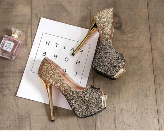 Sapato Feminino Peep Toe Salto 14cm.importado - Frete Grátis