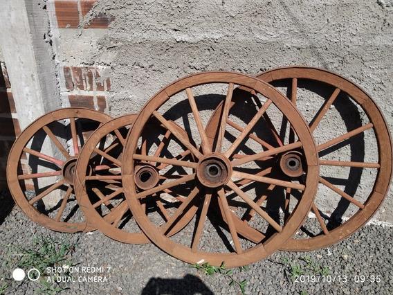 Roda Carroça Antiga De 1960 4 Rodas