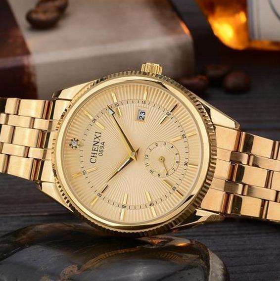Relógio Masculino Dourado Chenxi Aço Inoxidável Frete Grátis