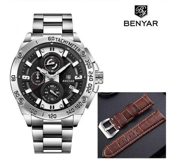 Relógio Masculino Benyar 5148 Luxo Original +brinde Pulseira
