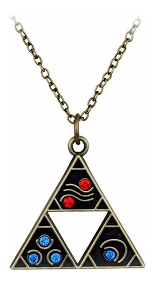 Collar Legend Zelda Triforce Elementos Trifuerza Metal Link