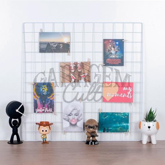 Memory Board 60x60 Branco Mural De Fotos Gratis Prendedor