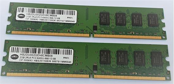 Kit 2 Memória Ddr2 Hbs 2gb Pc2-6400u 800 Mhz