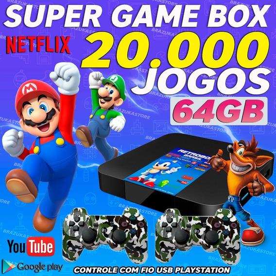 Retro Box - Video Game Retro Com 20.000 Com 2 Controles 64gb
