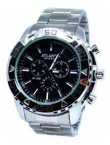 Relógio Atlantis G3243 Prata Fundo Preto Masc - Envio Já