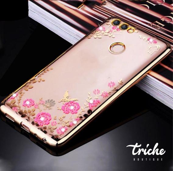 Funda Flores Pedrería Rosa Dorado Dama Huawei P10 Selfie