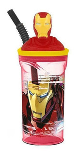 Vaso Infantil Iron Man Estatuilla Avengers Con Pajita Marvel
