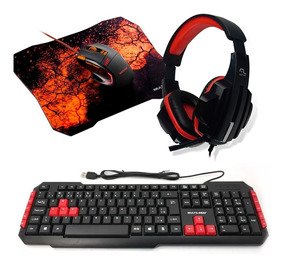 Kit Gamer Teclado Red + Mouse + Mouse Pad + Fone Headset