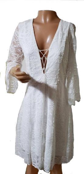 Vestido Soleil, Blanco De Encaje Con Cordon En Escote