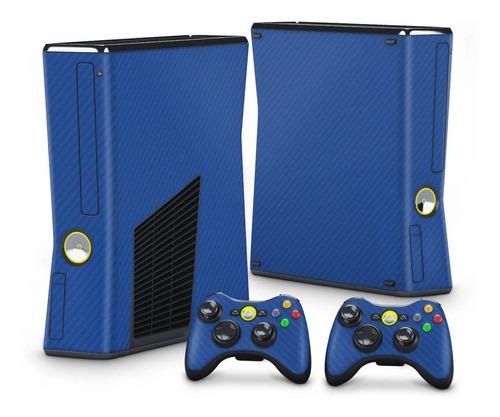 Imagem 1 de 3 de Skin Xbox 360 Slim Adesivo Fibra De Carbono Azul