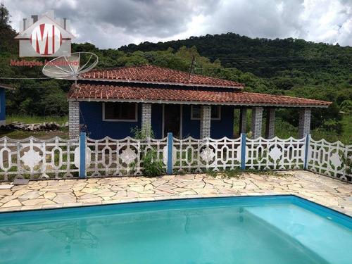 Linda Chácara Com 2 Dormitórios, Piscina, Perto Da Cidade, Vista Deslumbrante, À Venda, 5353 M² Por R$ 290.000 - Rural - Pedra Bela/sp - Ch0880