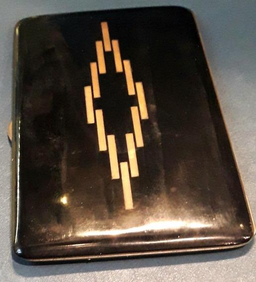 Cigarrera Metal Art Deco Francesa Cigarros De Chala Esmalte