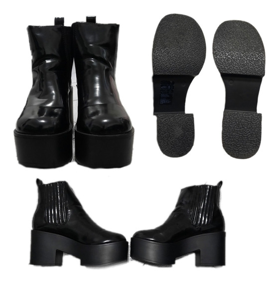 Botas H&m Negras Tipo Charol Talle 38