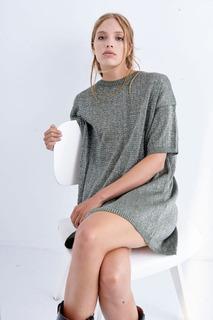 Sweater Vestido Mujer Tejido Liso Escote Redondo Lurex