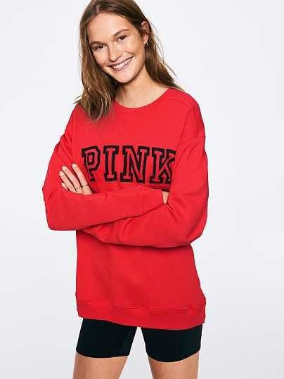 Sweater Victorias Secret Pink Original Nuevo Rojo Logo Sale