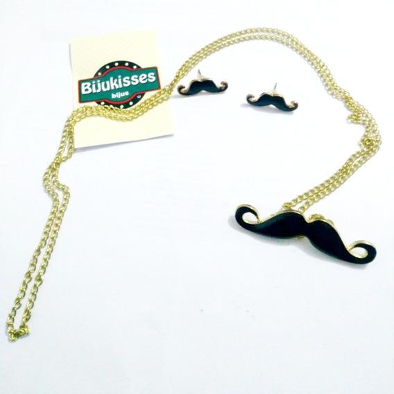 Conjunto Black Mustache - Corrente + Brincos