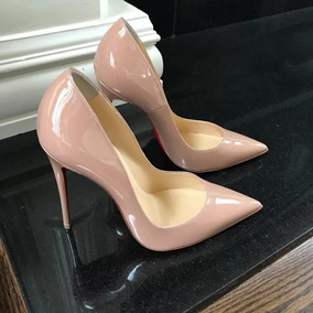 Sapato Scarpin Femininp Bege Preto 2 Cor 12 Cm Sola Vermelha