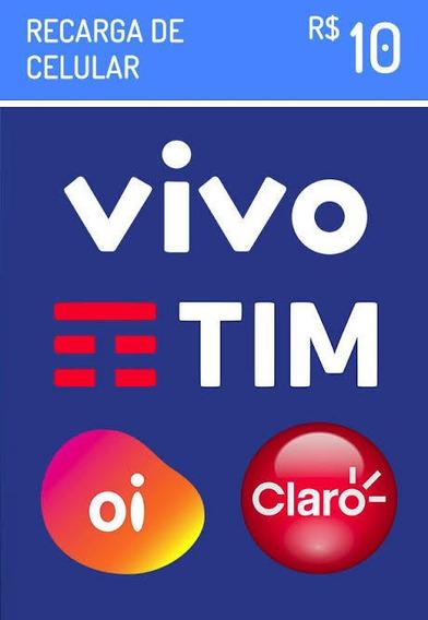 Recarga Para Celular Crédito Online 10,00 Tim Vivo Claro Oi