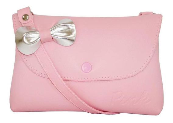 Bolsa Infantil Princesa Pink Rosa E Laço Prata Mini Carteira