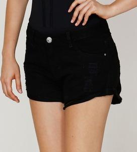 Oferta Kit 2 Shorts Curto Colorido Botão Sarja Feminino