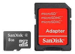 Cartao De Memoria Microsd 8gb + Adaptador Sd Sandisk