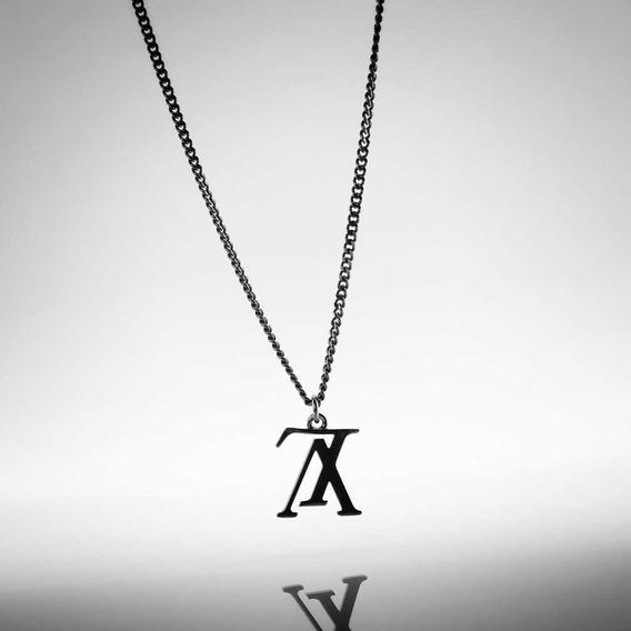 Corrente Masculina Louis Vuitton Lv Upside Down Preto Colar