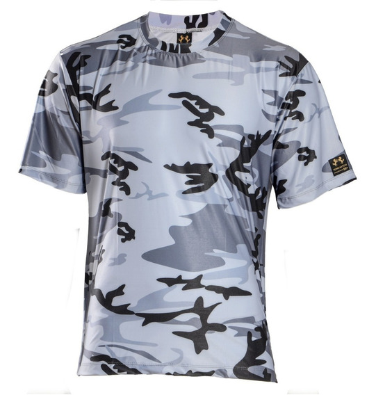 Camisa Camuflada Urbano Black Manga Curta Proteção Uv 50+