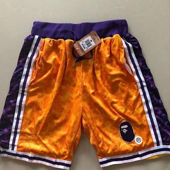 Short Bordado La Lakers Bape® X Mitchell & Ness - A Pedido