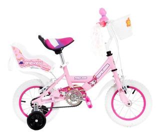 Bicicleta Nena Niña Cross Princesa Rodado 12 Mega Full Con Rueditas - La Mas Top - Reforzada - Happy Buy + Regalo !