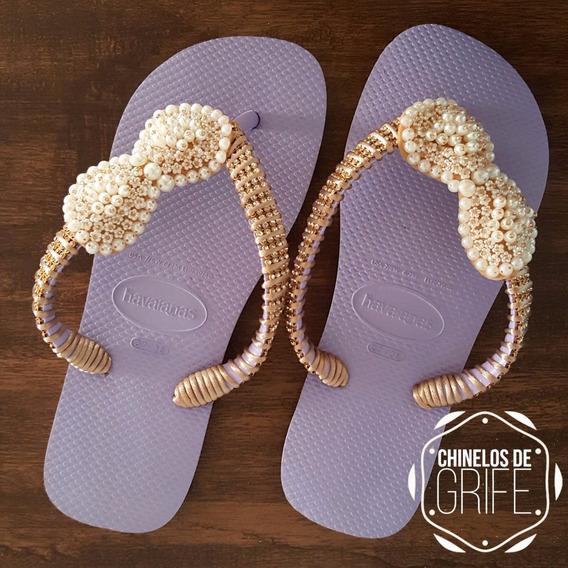 Chinelos Feminino Sandálias Havaianas Bordado C/ Pedraria