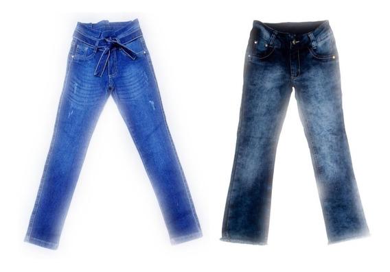 Kit 2 Calcas Jeans Femininas Meninas Juvenil Tam 10-12-14-16