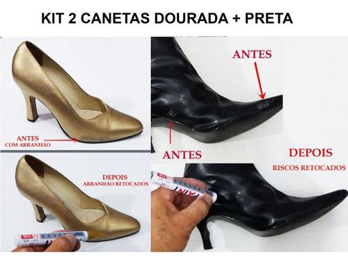 Caneta Tira Riscos De Sapatos-tenis-botas Kit Dourada+preta