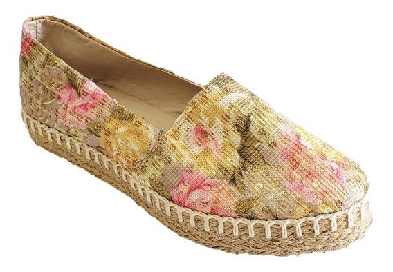 Zapato Para Dama Apargata Oro Love Cronnos 1013