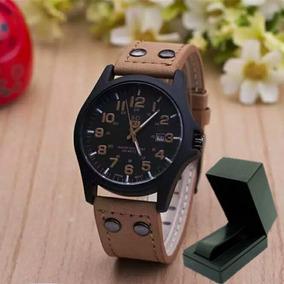 Relógio Masculino Soki Pulseira Couro Militar+caixinha