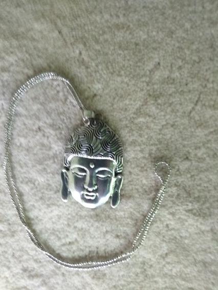 Collar Buda Metálico Plata Cara De Buda