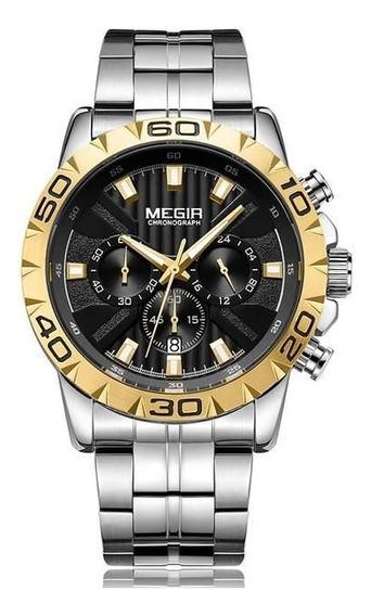 Relógio Masculino Megir Cronógrafo Em Aço Prata Gold