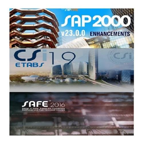 Imagen 1 de 2 de Combo, Sap2000 V23, Etabs V19, Safe V16+ Actualizado