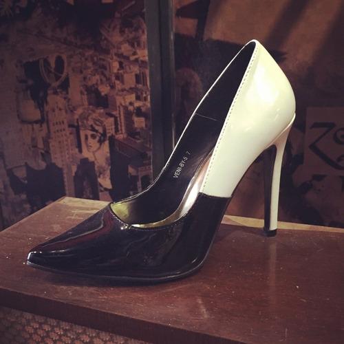 Stiletto Zapato Mujer Taco 11 Cm Color Nude/negro Talle 37