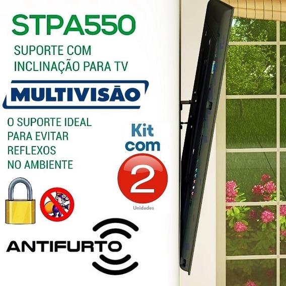 Suporte Multivisão Anti Reflexo C/ Trava Antifurto - Kit C/2