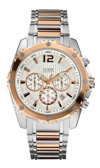 Relógio Guess Masculino Cronógrafo Prata/rose W0165g2