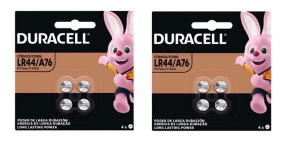 Bateria Duracell Lr44 Kit C/2 Cartelas C/4 Unidades