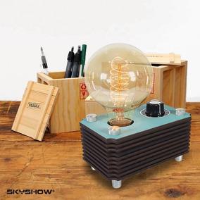 Abajur Box Dimerizavel + Lampada - Industrial Retrô Madeira