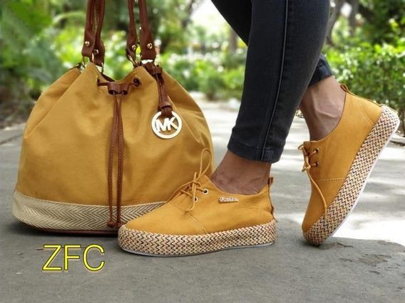 Zapatos Colombiano Combo Yute Tenis Y Bolso Para Dama