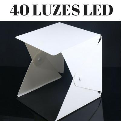 Mini Estúdio Fotográfico Portátil, 24cm Com 40 Leds