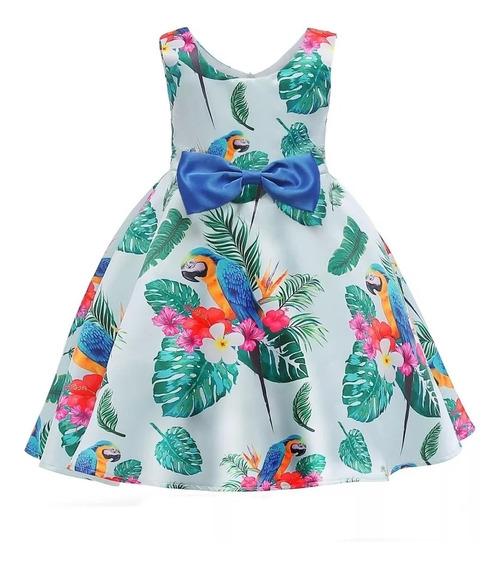 Vestido Para Niñas Fiesta Tropical Loros 3 A 8 Años