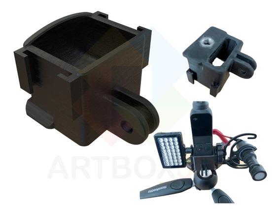 Base Suporte Dji Osmo Pocket Led Microfone Rosca 1/4 Gopro