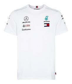 Playera Mercedes Amg Petronas F1 Manga Corta Genuina Blanca