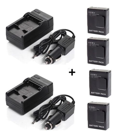 Lote 4 Baterias Ahdbt-302 Gopro Hero 3 + Dois Carregadores